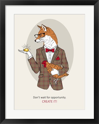 Framed Fox Man In Pin Suit Print