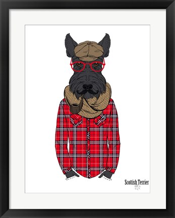 Framed Scottish Terrier In Pin Plaid Shirt Print