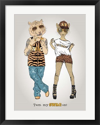 Framed Tiger And Leopard In Swag Style Print