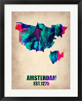 Framed Amsterdam Watercolor Map Print