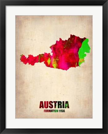 Framed Austria Watercolor Print