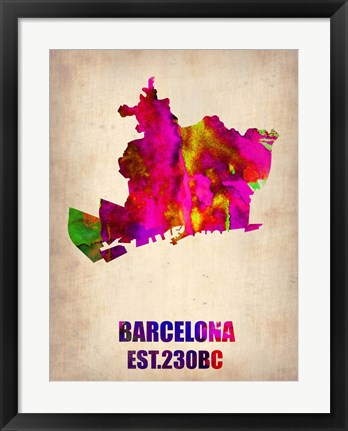 Framed Barcelona Watercolor Map Print