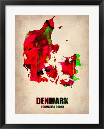 Framed Denmark Watercolor Print