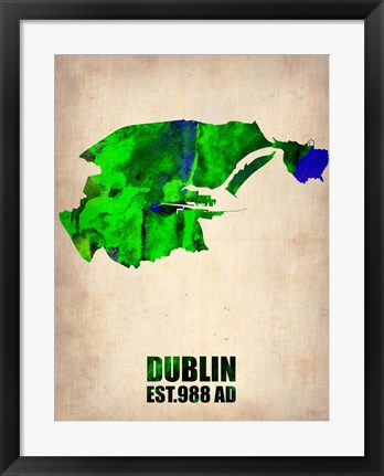 Framed Dublin Watercolor Map Print
