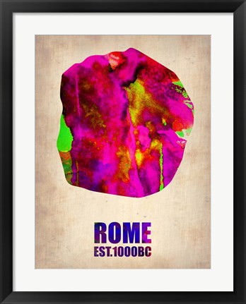 Framed Rome Watercolor Map Print