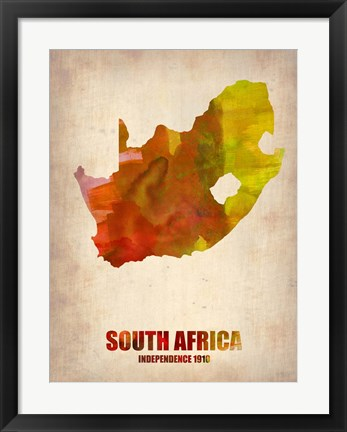 Framed South Africa Watercolor Print