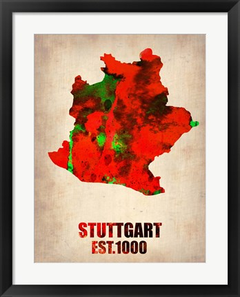Framed Stuttgart Watercolor Print