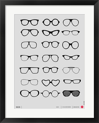 Framed Vintage Glasses 1 Print