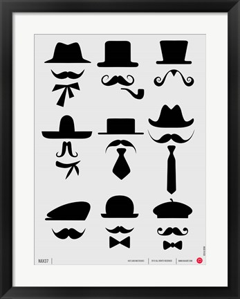 Framed Hats and Mustaches 1 Print