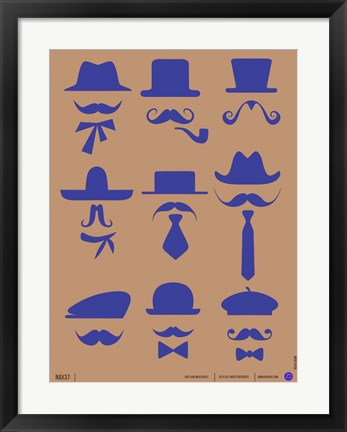 Framed Hats and Mustaches 2 Print