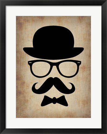 Framed Hat Glasses and Mustache 1 Print
