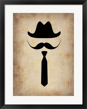 Framed Hat Glasses and Mustache 2 Print