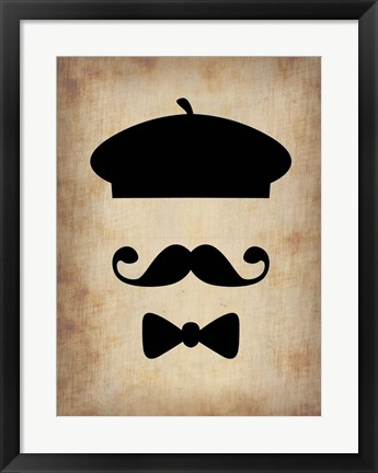 Framed Hat Glasses and Mustache 3 Print