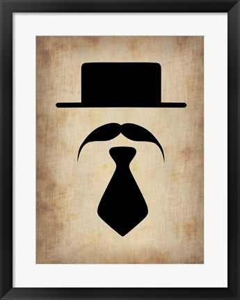 Framed Hat Glasses and Mustache 5 Print