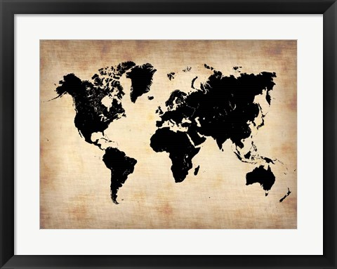 Framed Vintage World Map Print