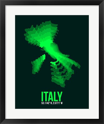 Framed Italy Radiant Map 2 Print