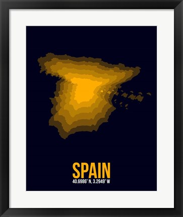 Framed Spain Radiant Map 2 Print