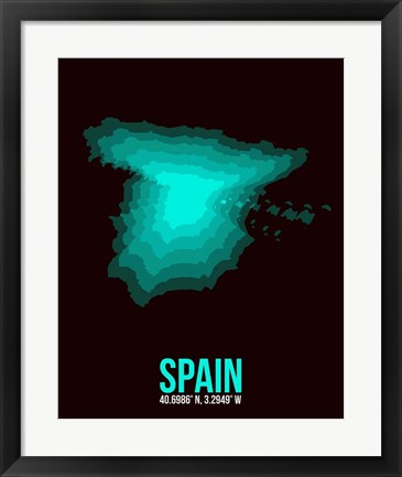 Framed Spain Radiant Map 3 Print