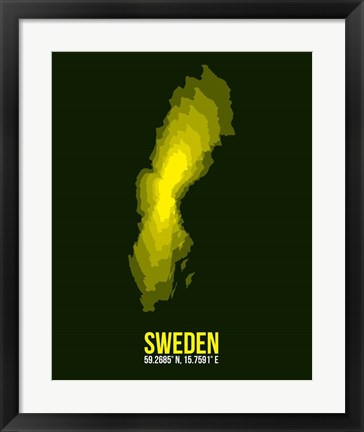 Framed Sweden Radiant Map 3 Print