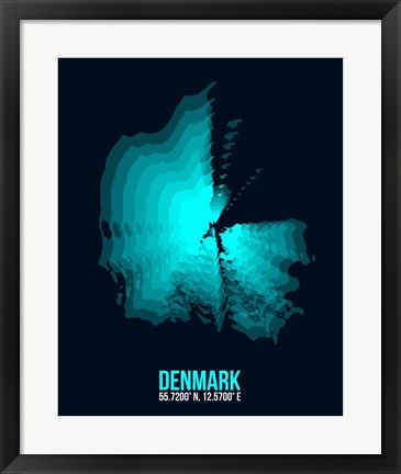 Framed Denmark Radiant Map 2 Print