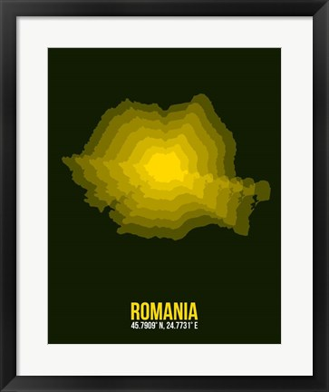 Framed Romania Radiant Map 2 Print