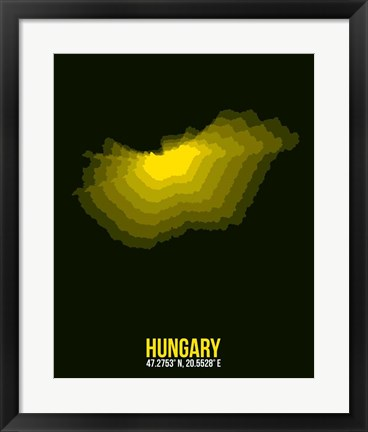 Framed Hungary Radiant Map 2 Print