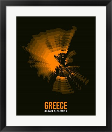 Framed Greece Radiant Map 2 Print
