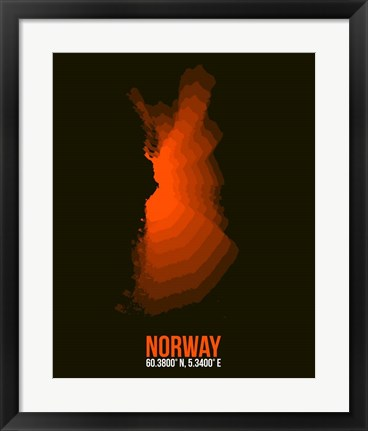 Framed Norway Radiant Map 1 Print