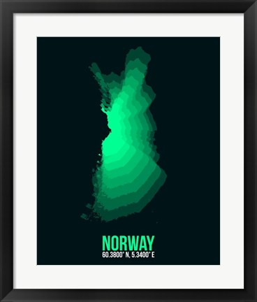 Framed Norway Radiant Map 3 Print
