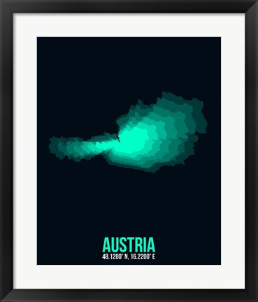 Framed Austria Radiant Map 3 Print