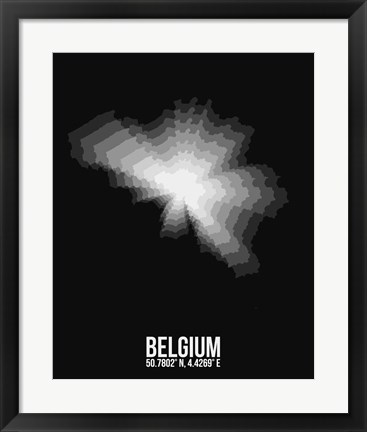 Framed Belgium Radiant Map 3 Print