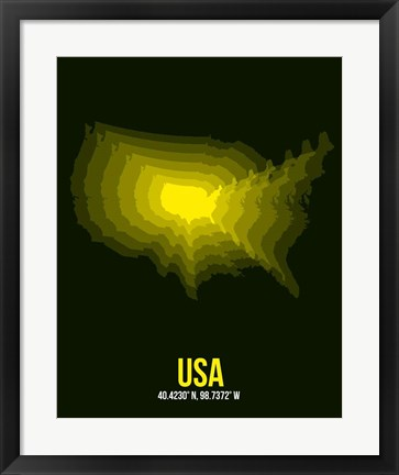 Framed USA Radiant Map 3 Print