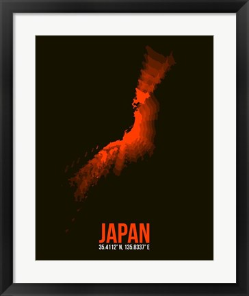 Framed Japan Radiant Map 1 Print