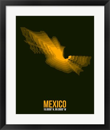Framed Mexico Radiant Map 1 Print