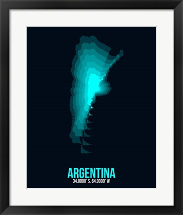 Framed Argentina Radiant Map 1 Print