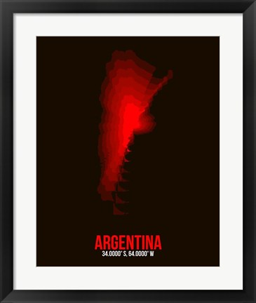 Framed Argentina Radiant Map 2 Print