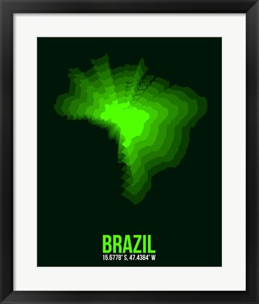 Framed Brazil Radiant Map 2 Print