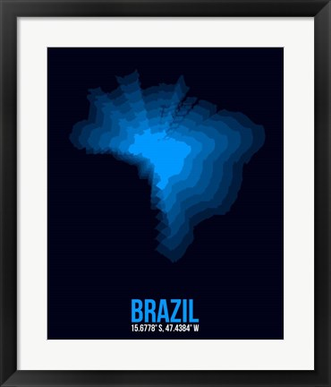 Framed Brazil Radiant Map 3 Print