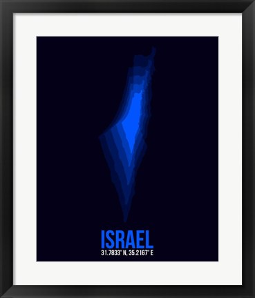 Framed Israel Radiant Map 1 Print