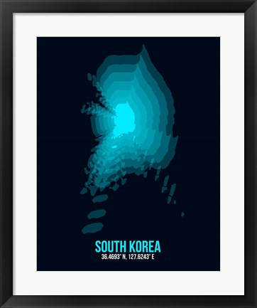 Framed South Korea Radiant Map 2 Print