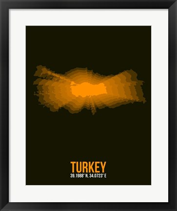 Framed Turkey Radiant Map 2 Print