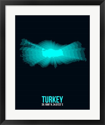 Framed Turkey Radiant Map 3 Print