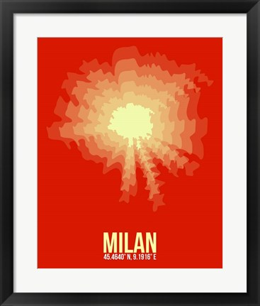 Framed Milan Radiant Map 2 Print