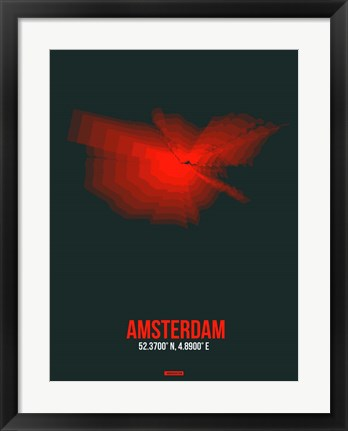 Framed Amsterdam Radiant Map 6 Print