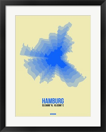 Framed Hamburg Radiant Map 2 Print