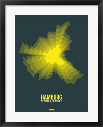 Framed Hamburg Radiant Map 3 Print