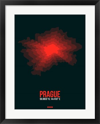 Framed Prague Radiant Map 3 Print