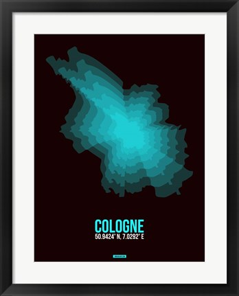 Framed Cologne Radiant Map 2 Print