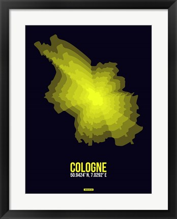 Framed Cologne Radiant Map 3 Print