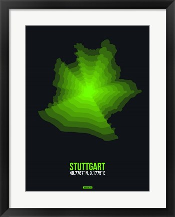 Framed Stuttgart Radiant Map 3 Print